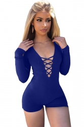 Women Sexy Deep V Lace Up Long Sleeve Romper Sapphire Blue