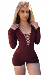 Women Sexy Deep V Lace Up Long Sleeve Romper Ruby