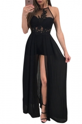 Women Sexy Halter Hight Waist Sheer Embroidered Jumpsuit Black