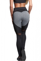 Women Mesh Patchwork Heart Shape Yoga Sports Wear Leggings Black