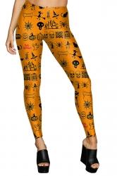Women High Waist Pumpkin Ghost Printed Halloween Leggings Orange