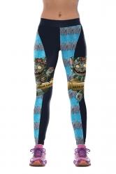 Women Cats Printed High Waist Halloween Leggings Sapphire Blue