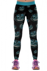 Women Cheshire Cats Printed High Waist Halloween Leggings Turquoise