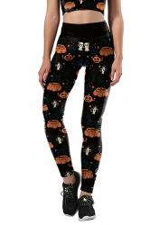 Women Pumpkin Printed High Waist Halloween Leggings Black