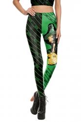 Women Wizard Pumpkin Printed High Waist Halloween Leggings Green