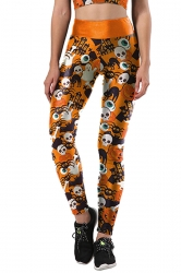 Women Skull Printed High Waist Halloween Leggings Orange
