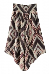 High Waist Asymmetrical Hem Geometry Printed Wide Legs Pants Brown