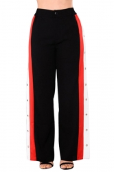 Women Sexy Side Stripe Splits Button High Waist Pants Black