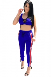 Women Sexy Lace Up Stripe Tank Top & Tight Pants Suit Sapphire Blue