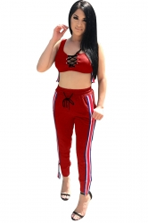 Women Sexy Lace Up Stripe Tank Top & Tight Pants Suit Ruby