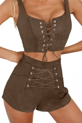 Women Sexy Cross Lace Up Sleeveless Open Bra Crop Top Short Suit Coffee