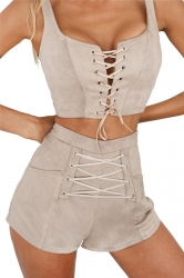 Women Sexy Cross Lace Up Open Bra Crop Top Short Suit Pink Light Gray