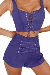 Women Sexy Cross Lace Up Open Bra Crop Top Short Suit Sapphire Blue