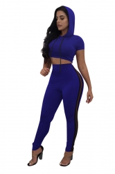 Women Sexy Side Stripe Hooded Crop Top Sports Suit Sapphire Blue