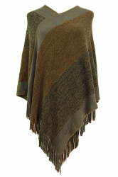 Women Color Block Irregular Fringe Poncho Khaki