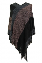 Women Color Block Irregular Fringe Poncho Pink