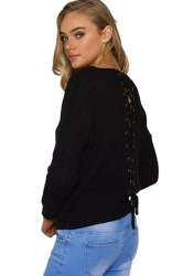 Women V Neck Lace Up Hollow Out Back Pullover Sweater Black