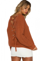 Women Sexy V Neck Cut-Out Back Lace Up Plain Sweater Orange
