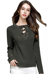 Women Sexy V Neck Lace Up Long Sleeve Pullover Sweater Army Green