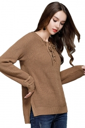 Women Sexy V Neck Lace Up Long Sleeve Pullover Sweater Camel