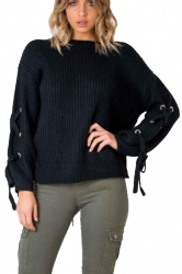 Women Lace Up Sleeve Oversized Plain Pullover Sweater Black