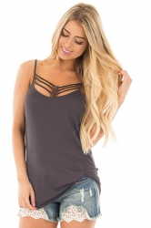 Women Sexy Spaghetti Strap Sleeveless Open Bra Camisole Top Gray