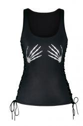 Women Halloween 3D Skeleton Hands Print Lace Up Scoop Neck Tank Top Black