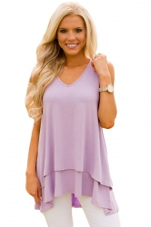 Women V-Neck High Low Ruffled Layer Asymmetric Hem Tank Top Purple