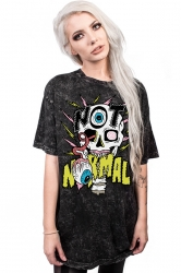 Women Halloween 3D Skeleton Round Neck Short Sleeve T-Shirt Black