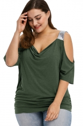 Women Plus Size Cold Shoulder Sequin Pleated T-Shirt Green