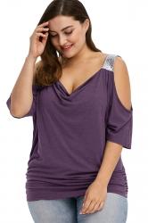 Women Plus Size Cold Shoulder Sequin Pleated T-Shirt Purple