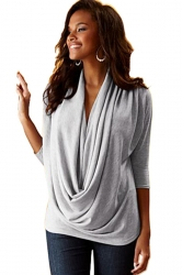 Women Cowl Neck 3/4 Length Sleeve Blouse Light Gray