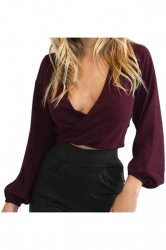 Women Sexy Deep V Open Back Bandage Long Sleeve Blouse Ruby