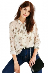 Bow Tie V-Neck Floral Printed 3/4 Length Sleeve Blouse Multicolour