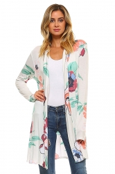 Womens Flower Printed Long Sleeve Cardigan Green