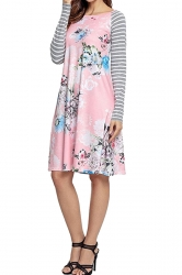 Women Long Sleeve Flower Loose Casual Swing Tee Shirt Dress Pink