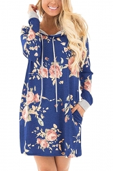 Women Long Sleeve Flower Hooded Sweatshirt Dress With Pocket Blue