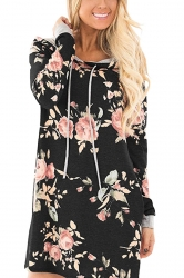 Women Long Sleeve Flower Hooded Sweatshirt Dress With Pocket Black