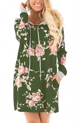 Women Long Sleeve Flower Hooded Sweatshirt Dress With Pocket Green
