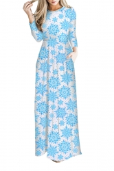 Women Long Sleeve Snowflake Christmas Themed Maxi Dresses Light Blue