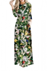 Women Long Sleeve Christmas Tree Themed Maxi Dresses Multicolor