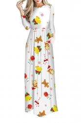 Women Long Sleeve Christmas Jingle Bell Print Maxi Dresses Yellow