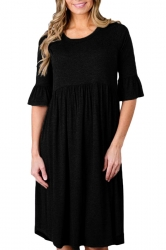 Black 3/4 Sleeve Casual Knee Length Skater Dresses