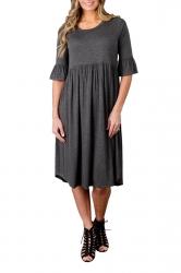 Gray 3/4 Sleeve Casual Knee Length Skater Dresses