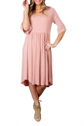 Pink 3/4 Sleeve Casual Knee Length Skater Dresses