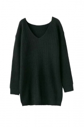 Women V Neck Oversized Knit Sweater Dress Top Black