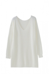 Women V Neck Oversized Knit Sweater Dress Top White