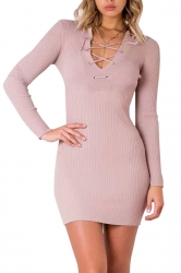 Women V Neck Eyelet Lace Up Knit Sweater Dress Pink