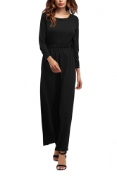 Women Crew Neck Long Sleeve Elastic Waist Plain Maxi Dress Black