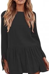 Women Casual Long Sleeve Pleated Hem Shirt Dress Black